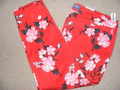 NWT Old Navy RED FLORAL Pixie PANTS AWESOME LOOK 18