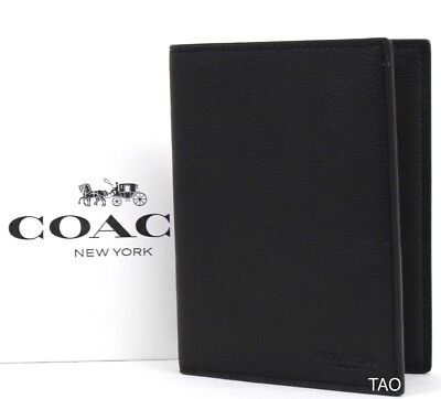Coach Men's Unisex Calf Leather Passport Holder Case Wallet F93604 Black New NWT