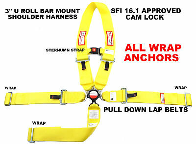 Dragster Yellow Race Harness All Wrap Seat Belt Sfi 16.1 With Sternum Strap