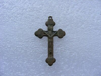 Byzantine Period Balkans Ancient Antique Bronze Christian Pendant Cross Artifact