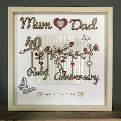 40th Wedding Anniversary Gifts.Handmade Personalised Ruby 40th Wedding Anniversary Gift Frame Mum And Dad