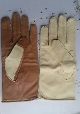 Vintage Fownes Golfing Golf Gloves Pair Yellow Brown Kid Leather Size 8 England