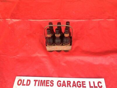 (6) 1930's 1940's double dot Amber Pepsi Cola Bottles W 6pk Carrier Los Angeles