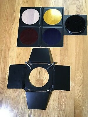 "Universal Barndoor + Grid + Colored Gels || For Reflectors 5.5""-7"""