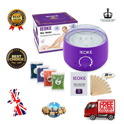 Hair Removal Waxing Kit Hot Wax Heater Pearl Wax Machine with Wax Beans Fast UK