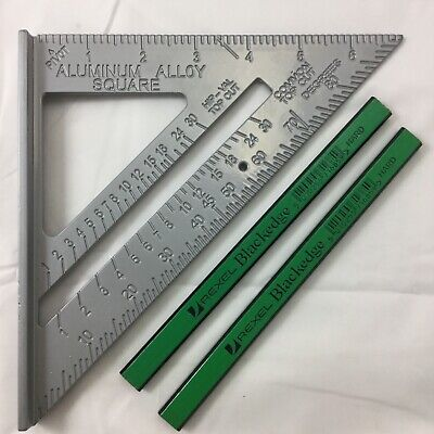 """SPEED SQUARE/ROOFING/RAFTER ANGLE TRIANGLE GUIDE QUICK MEASURE 7""""2xgreen pencils"""
