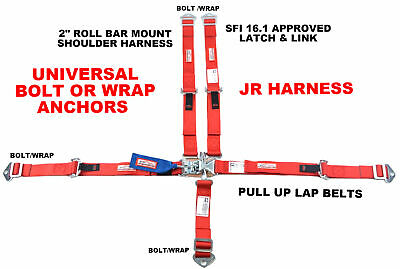 Quarter Midgets Racing Harness Sfi 16.1 5 Point Latch & Link Seat Belt Red