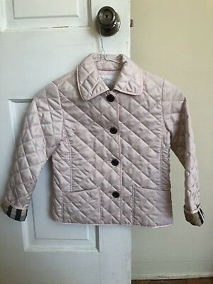 Burberry Girls Quilted Pink Jacket Size 6