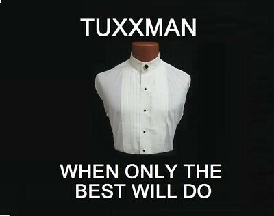 Nice Ivory Mandarin Banded Chinese collar Pleated Tuxedo Shirt TUXXMAN