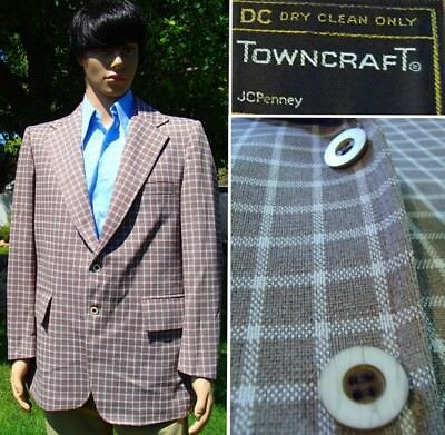 VINTAGE 70's PLAID POLYESTER BLAZER brown disco sport jacket TOWNCRAFT mens 44L