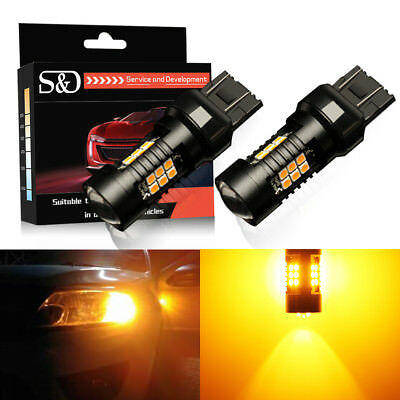 2Pcs 7443 7440 T20 Amber Yellow 21SMD Car LED Turn Signal Side Tail Light Bulbs