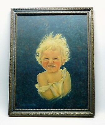 Vintage Urgelles Happy Baby print The Master Art Publishers 1930s framed cute