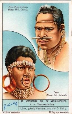Advertising Liebig Card Aesthetics Of The Natural People Nose Decoration