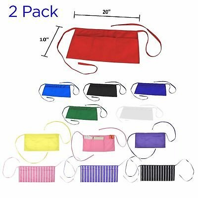 2-PACK Waist Aprons Commercial Restaurant Home Poly Cotton Kitchen Cooking