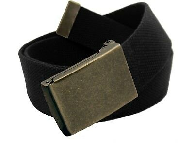 Mens Mudflap Girl Silver Flip Top Military Buckle with Canvas Web Belt