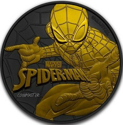 2017 1 Oz Silver $1 Golden Enigma SPIDERMAN Ruthenium Coin WITH 24K Gold Gilded.