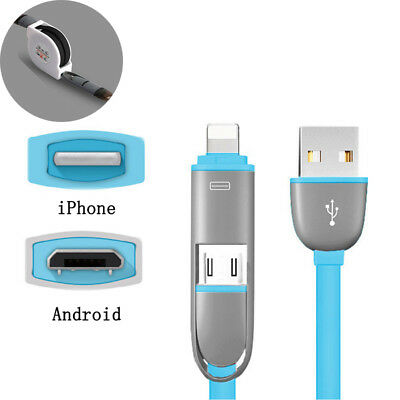 Retractable USB Cable Charger 2 in 1 Lightning Micro Data Sync for IOS Android