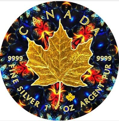2016 1 Oz Silver Maple Leaf ORANGE KALEIDOSCOPE Coin, 24kt Gold Gilded.