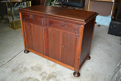 Vtg Zenith Cobra Matic Record Player AM Radio Wood Console Tube Stereo  Cabinet