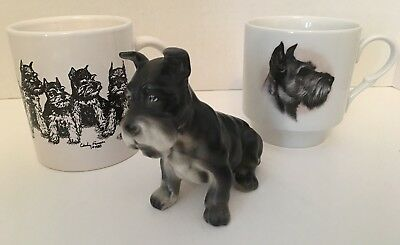 2 SCHNAUZER Dog Mugs & Figurine Lot of 3 Items