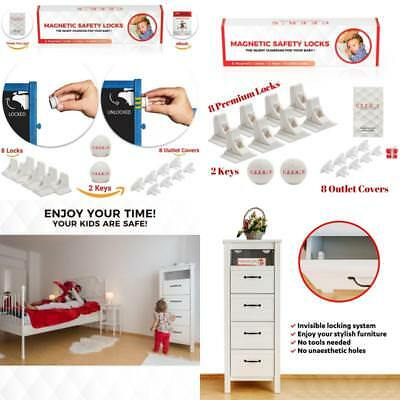 8 Magnetic Baby Proof Safety Cabinet Locks And 2 Keys For All Cabinets And Drawe
