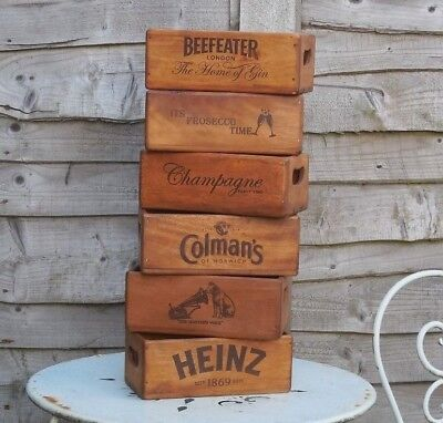 Advertising Wooden vintage antique style storage crate box flower tray