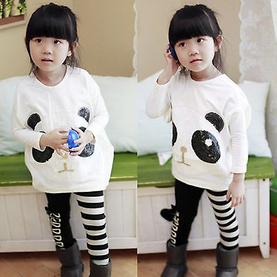 Kids Girl Outfits Clothes Panda Sequins Casual Soft Sweatshirt Striped Pants Set