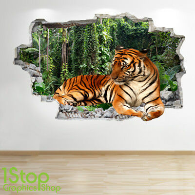 tiger wall sticker 3d look - bedroom lounge nature animal wall decal