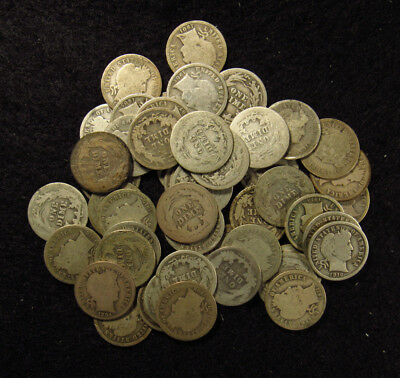 50 Silver Coin Full Roll BARBER DIMES AVERAGE CIRCULATED MIXED DATE/ MINT MARK