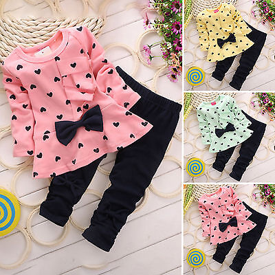 Kids Girls Outfits Set Bowknot Polkadot Top T-shirt Casual Dress Pants Clothes