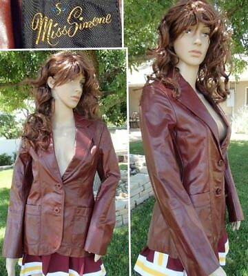 SEXY VINTAGE 70s LEATHER JACKET oxblood mod squad hippie fully lined women small