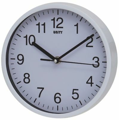 Unity White Case Silent Sweep Silent Wall Clock (No Ticking)