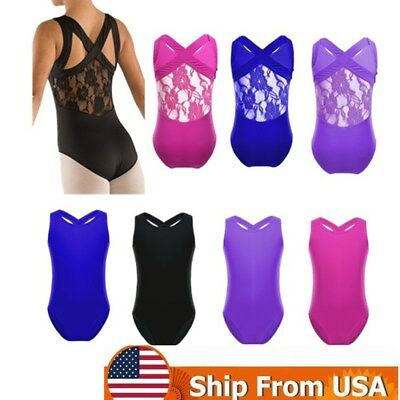 Kids Girls Leotards Ballet Dance Dress Gymnastics Unitards Dance Wear Tank Tops