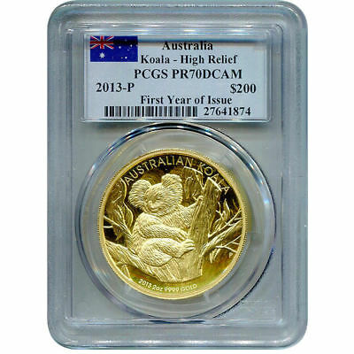 2013 Australia Gold 2 oz Koala High Relief Proof PCGS PR70 First Year of Issue