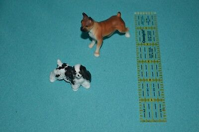 Bone china minatures Boxer dog and Spaniel Dog.
