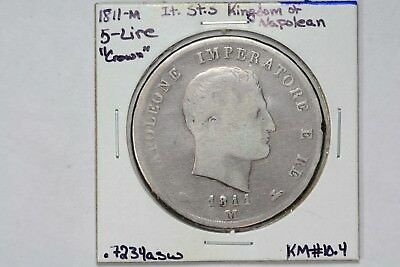 1811-M Italy States Kingdom Of Napoleon Silver 5 Lire Crown KM#10.4