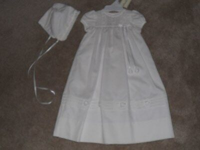Peaches 'n Cream White Christening Dress with Bonnet, New with Tags, Size 0-3 M