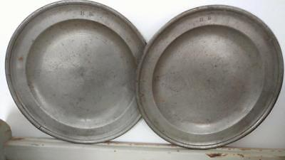 Pewter Plates by Fasson & Son - Pair - Initialed