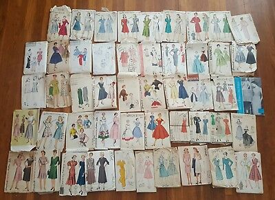 49 Vintage Women's sewing dress patterns. 40's 50's 60's Du Barry. simplicity.