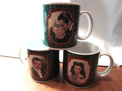 """Vintage 1989 Heirloom Tradition """"Gone with the Wind"""" Ceramic Cups Mugs Lot of 3"""