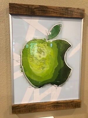 Apple computer logo wall art picture store display! Aluminum & Wood frame iPhone