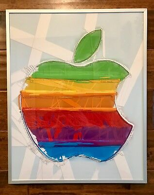 Apple computer logo wall art picture store display! Aluminum frame! Imac IPhone