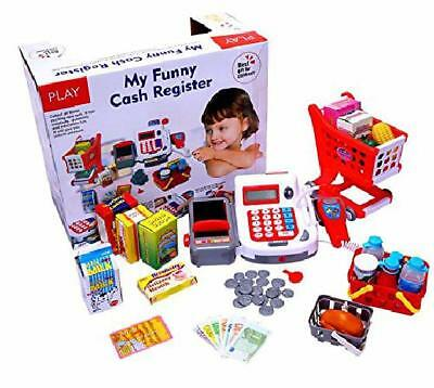 Play Supermarket Toy Shopping Cart Electronic Cash Register & Credit Card Reader