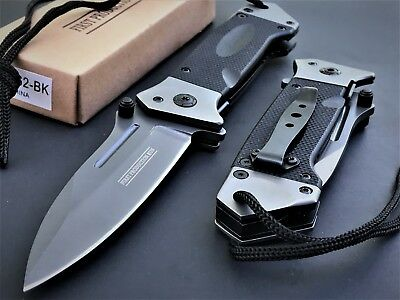 Military Tactical Spring Assisted G-10 Heavy Grade Rescue Drop Point Knife Open