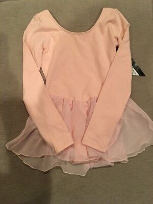 Youth Girls Bloch Tiffany Short Sleeve Shiffon Skirted Leotard Petal Pink 6 6x 7
