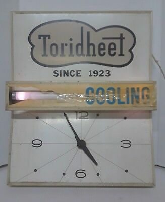 Vintage Toridheet Heating and Cooling Lighted sign/Clock Advertising(For Repair)
