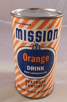 Vintage MISSION ORANGE 1954 Steel Sodapop Can Flat Top Can - Empty