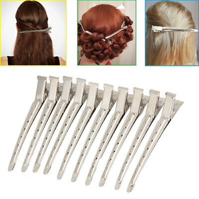 12Pcs Professional Metal Hair Sectioning Clips Salon Hairdressing Curling Grip