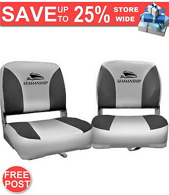 QUALITY NEW Set of 2 Swivel Folding Boat Seats Grey FAST & FREE POSTAGE WARRANTY