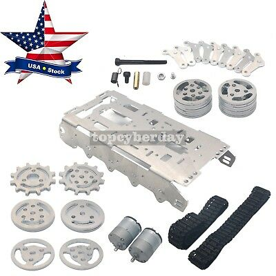 Robot Tank Chassis Metal Independent Suspension System Tracked f/ Arduino DIY US